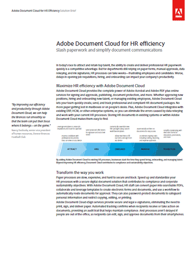 Adobe Document Cloud for HR Efficiency