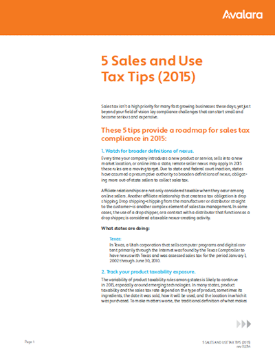 Five Sales & Use Tax Tips
