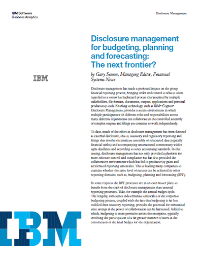 Disclosure management for budgeting, planning and forecasting: The next frontier?