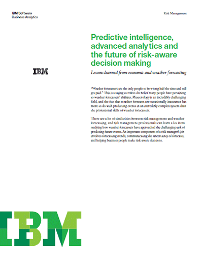 Predictive Intelligence, Advanced Analytics and The Future of Risk-aware Decision Making